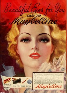 Much has changed for women over the last century, however, as a collection of vintage make-up ads from cosmetics company Maybelline show, their beauty needs have not evolved. 1930s Makeup, Vintage Makeup Ads, Retro Makeup, Old Makeup, Vintage Beauty, Vintage Ads, Vintage Posters, Makeup Ideas, Vintage Vanity
