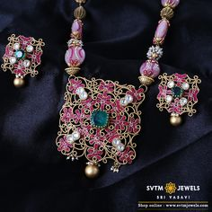 Look more gorgeous with this gold long necklace with it's matching earring studded with Crystal, Kundan, fancy stone, fancy beads. Necklace Set, Gold Necklace, Bridal Jewellery, Gold Jewelry, Magic, Fancy, Stud Earrings, India, Jewels