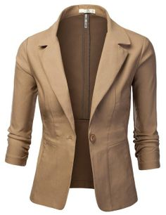 J.TOMSON Womens Fitted Boyfriend Blazer With Trim Detail at Amazon Women's Clothing store: Blazers And Sports Jackets