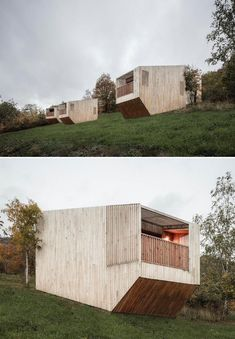 A Collection Of 14 Modern Cabin Designs Were Used To Create This Unique Hotel In France Hotels In France, Light Colored Wood, Built In Furniture, A Frame House, Unique Hotels, Cabin Design, Cabins In The Woods, Modern Buildings, Building Materials