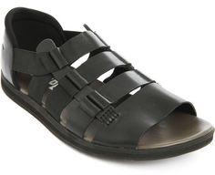 Camper Серволюкс Черные Кожаные сандалии в черном для мужчин
