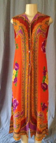 $79 opening bid Baroque Italian Style Long Easy Dress Red Tapestry Print Button Front S M
