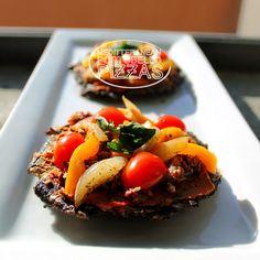 Mediterranean Portobello Pizzas, vegan, vegetarian, low calorie, healthy, low cal, food, meatless meals