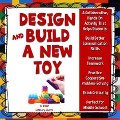 Design and Build a New Toy (Grades Core AlignedDescription:You have been hired to design and build a new toy! Your toy will be marketed across the nation this coming holiday season! End Of Year Activities, Hands On Activities, Stem Activities, Teambuilding Activities, Learning Activities, Teaching Tools, Teaching Resources, Teaching Ideas, Genius Hour
