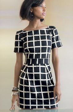 Black and white formal office business dress clothing women style @roressclothes closet ideas apparel fashion ladies outfit