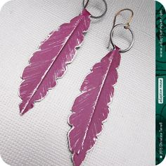 adaptive reuse jewelry -- Fresh Eggplant Feathers -- Upcycled Tin Earrings by christineterrell, $32.00