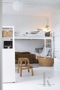 scandinavian children room with bunk bed