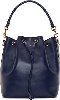 Saint Laurent Navy Leather Emmanuelle Medium Bucket Bag