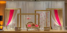 Finishing Touch Decor - Indian Wedding Decorations Source by ychinoy. Simple Stage Decorations, Wedding Stage Decorations, Engagement Decorations, Backdrop Decorations, Engagement Cupcakes, Indian Wedding Stage, Wedding Stage Design, Indian Weddings, Hindu Weddings