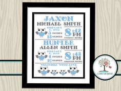 Twins Birth Announcement Nursery Wall Art by CopperLensArtistry, $15.00