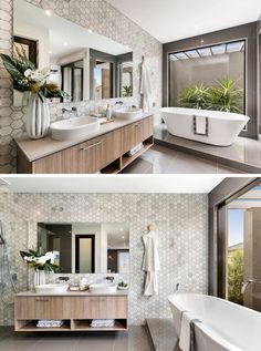 Bathroom Tile Ideas - Grey Hexagon Tiles | Grey and white marble hexagon tiles on the wall of this bathroom give the space a sophisticated and spa-like feel.