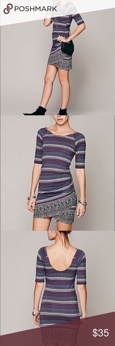 Free People Border Print Bodycon Dress Free People Intimately purple, blue black and gray print dress.  Stretchy material.  Rouching on side for a flattering fit.  In excellent condition. Free People Dresses