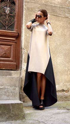 New Collection Maxi Dress /Beige and Black Asymmetrical Kaftan/Extravagant Long short Dress /Party Dress /Daywear Dress by AAKASHA - Street Fashion Look Fashion, Street Fashion, Womens Fashion, Fashion Design, Girl Fashion, Mode Outfits, Dress Outfits, Maxi Dresses, 1950s Dresses