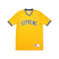Supreme Supreme/Champion Shooting Jersey ($98) ❤ liked on Polyvore featuring tops, shirts, jersey knit shirts, yellow shirt, jersey knit tops, champion shirts en shirts & tops