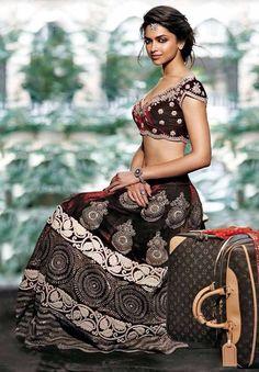 sapney: Deepika Padukone for Louis Vuitton/Verve Deepika Padukone Lehenga, Deepika Padukone Hair Color, Bollywood Fashion, Bollywood Actress, Bollywood Style, Indian Bollywood, Indian Hairstyles, Wave Hairstyles, Wedding Hairstyles