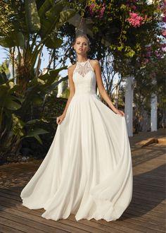 Boho Wedding Dress, Boho Dress, One Shoulder Wedding Dress, Wedding Dresses, Boho Inspiration, Wedding Inspiration, Herve, Chiffon Skirt, Lace Bodice