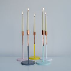 These beautiful candle holders are from Dutch brand Jansen+Co. Select from white base with copper, pink base with copper, anthracite grey with copper, yellow base with copper or mint base with copper.  We also stock this beautiful candleholder in decadent brass.  These candleholders are sold individually and come packaged in a beautiful cardboard box. They make a great gift.  About Jansen+Co  Jansen+Co is a Dutch table top design brand based in Amsterdam. Their products are contemporary…