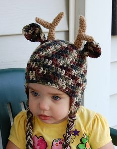 Crochet Camo Deer Hat