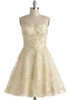 Goodnight, Swoon Dress - Wedding, Short, White, Gold, Floral, Embroidery, Strapless, Spaghetti Straps, Sweetheart