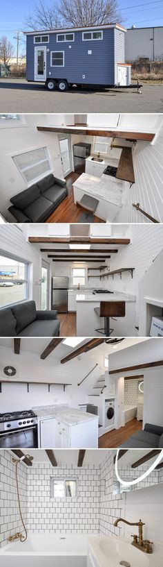 From Tiny House Building Company is the 304 sq.ft. Edsel. At 20' long it is easy to tow, yet provides room for a full kitchen, bathroom, and two lofts.
