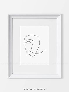 Abstract Face Printable One Line Print Black White Artwork