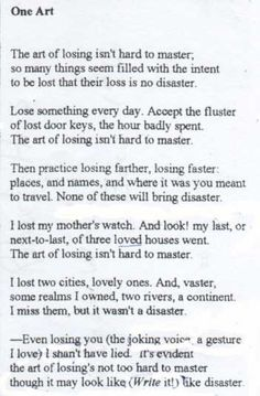 My favorite poem ever. By Elizabeth Bishop.