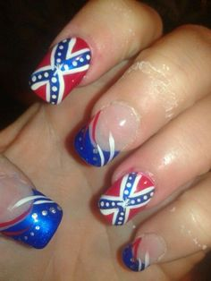 Confederate nails july 4th nails pinterest camo nails girls southern hospitality on pinterest confederate flag rebel flag prinsesfo Choice Image