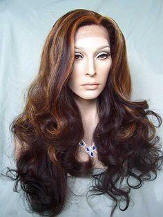 Lace Front Wig in color: #F2035: Medium Brown, Honey, Orange, Golden Blonde and Light Auburn Mix.    http://www.newattitudewigs.com/LI-AlexandraLF.html