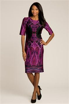 Mirror Border Print Knit Dress: Flattering darts and a touch of stretch offer gorgeous shape. Printed dress has a hidden back zip, round neck and elbow length sleeves.