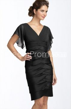 Buy Cheap Cheap Gorgeous Tiered Short-Sleeves Short/Mini-Length V-Neck Mother Of The Bride Dress TF309797 Sexy Mother Dress under $193.69 only in udreamprom.