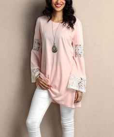 Another great find on #zulily! Pink Lace Bell-Sleeve Tunic by Reborn Collection #zulilyfinds