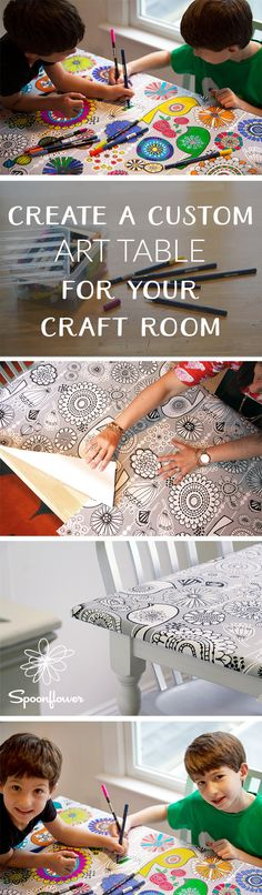Create a Custom Art Table for Your Craft Room! - Looking for a quick, easy and interactive update to your tired craft table? Spoonflower crew member Allison visits the blog to share how she updated her art room table using coloring book inspiredWoven Peel and Stick wallpaper!