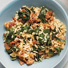 chicken sausage and spinach rice bowl
