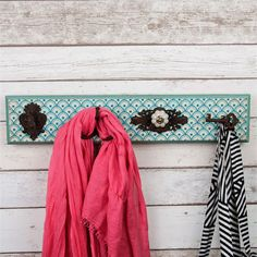 Wall Mounted Multi Coat Rack with Moroccan Print & 4 Vintage Style Hooks…