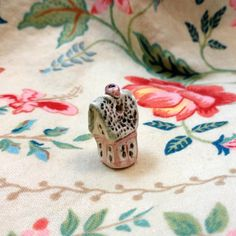 Ceramic Victorian House Bead by clayloftfarm on Etsy, $7.00