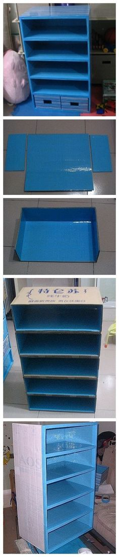 DIY varios - Muebles cartón (cardboard furniture) You're not going to believe this. Cardboard Storage, Cardboard Furniture, Cardboard Crafts, Craft Storage, Diy Furniture, Paper Crafts, Diy Crafts, Cardboard Boxes, Shoe Storage