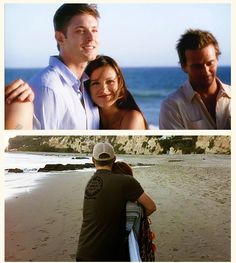 Jensen and Danneel on the beach in ten inch hero and now they're married with a baby girl on the way:)