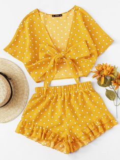 Polka dot top set with front knot with ruched under shorts - outfits - Girls Fashion Clothes, Teen Fashion Outfits, Cute Fashion, Outfits For Teens, Fashion Sets, Cute Casual Outfits, Cute Summer Outfits, Girly Outfits, Pretty Outfits