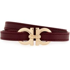 Salvatore Ferragamo Gancini Leather Wrap Bracelet ($270) ❤ liked on Polyvore featuring men's fashion, men's jewelry, men's bracelets, men's jewelry bracelets, wine, men's wrap bracelet, mens leather bracelets and mens bracelets