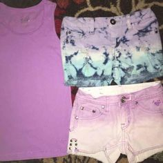 JUSTICE MUDD  DENIM TYE DYE SHORTS & TANK TOP SZ 7 Justice lavender Ombré Denim shorts frayed edges & Studs SZ 7S Simply Low  Justice Lavender Ribbed tank top 10 runs a bit smaller I think, we wore with these shorts  MUDD destroyed tye dye Denim shorts frayed edges and studds on back pocket  Super cute shirts pics don't do them Justice Great condition no noted flaws I see Happy to combine shipping for multiple purchases or bundles Justice Bottoms Shorts