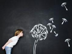Stock Photo : Boy blowing dandelion clock - Chalk Art İdeas in 2019 Blowing Dandelion, Dandelion Clock, Graffiti Wall Art, Murals Street Art, Diy Cadeau Maitresse, Chalk Photos, Chalk Wall, Chalk Board, Chalk Paint