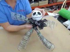 deco mesh Halloween wreath with skeleton