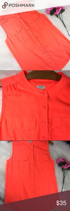 "J. Crew bright orange sleeveless button up. Excellent condition, no sign of wear. Size 6. Armpit to armpit 18"" Armpit down 17"" Shoulders down 25"" J. Crew Tops Blouses"