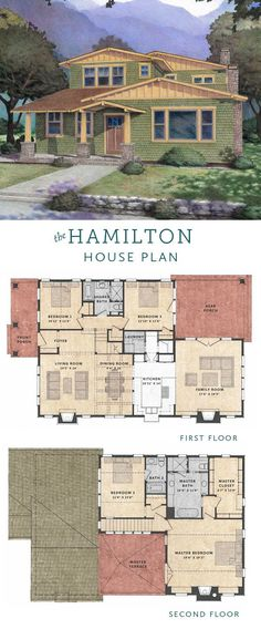The Hamilton House is a 4 bedroom Craftsman House Plan with an open floor plan and a master bedroom terrace on the second floor.