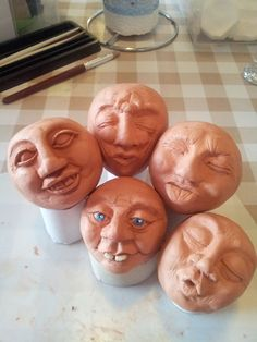 Clay faces made from air drying clay