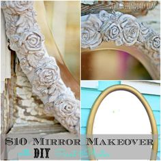 turn a plaint mirror into an ornate mirror with plaster and candy molds