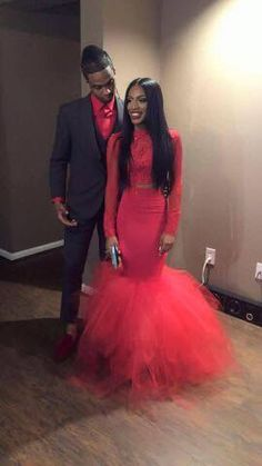 Lace Prom Dress,Two Pieces Prom Dress,Fashion Prom Dress,Sexy Party Dress,Custom Made Evening DressTw Black Girl Prom Dresses, Prom Dresses Two Piece, Black Prom, Homecoming Dresses, Red Black, Prom Couples, Prom Goals, Prom Date, Prom Outfits