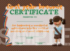 Girl Scouts First Sleep Over Brownie Certificate