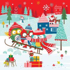 Sophie Webber - Sophie Webber Christmas Owl Sledge Card