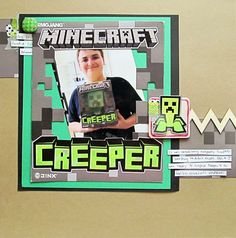 1 photo scrapbook layout, Christy Strickler for My Scrapbook Evolution, features a Minecraft theme, uses toy packaging